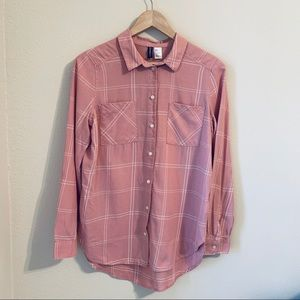 H&M Divided Pink Plaid Button Down